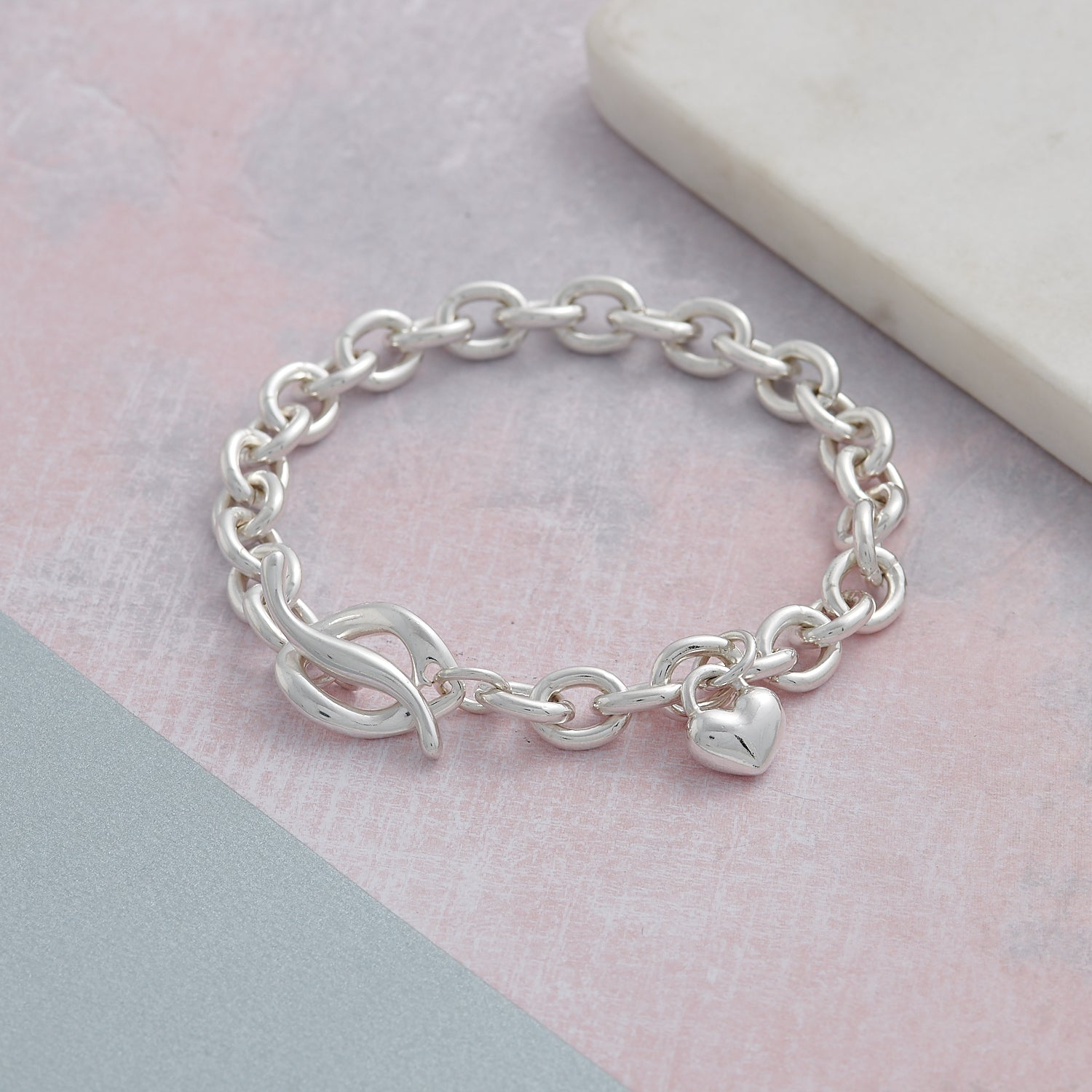 Solid sterling silver heart chunky T-bar traditional charm bracelet designer Scarlett Jewellery