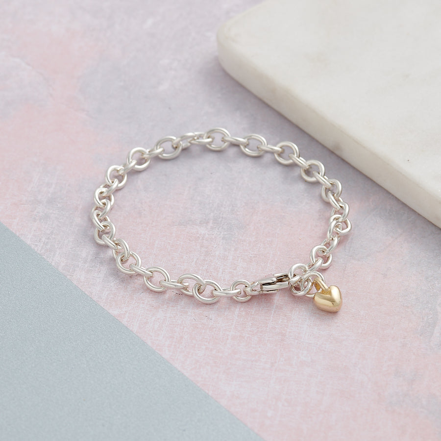 Solid sterling silver and solid gold heart adjustable charm bracelet designer Scarlett Jewellery