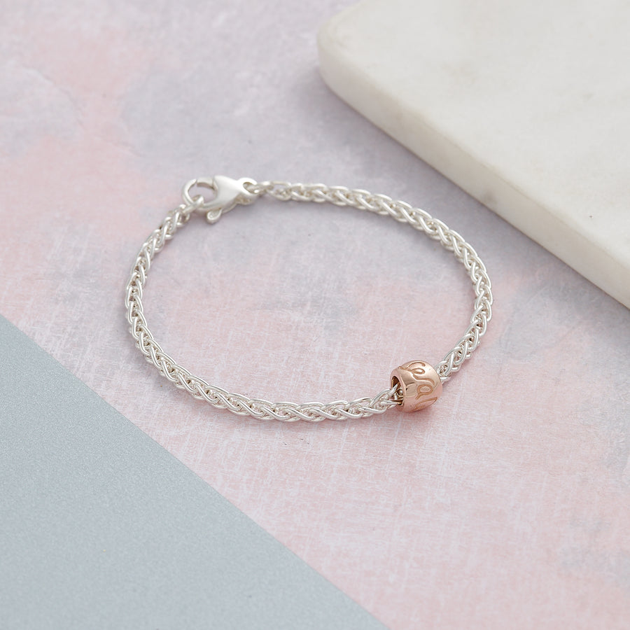 Solid sterling silver Que sera rose gold worry bead charm bracelet designer Scarlett Jewellery