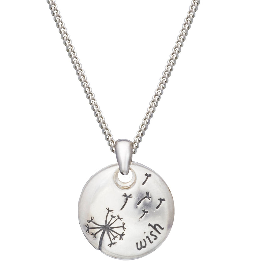 Wishes and dreams dandelion seed necklace engraved on back Scarlett Jewellery