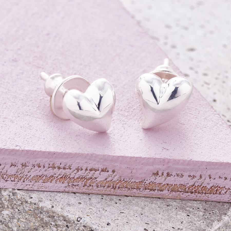 Simply Heart Silver Stud Earrings Symmetrical heart shaped studs for pierced ears Scarlett Jewellery