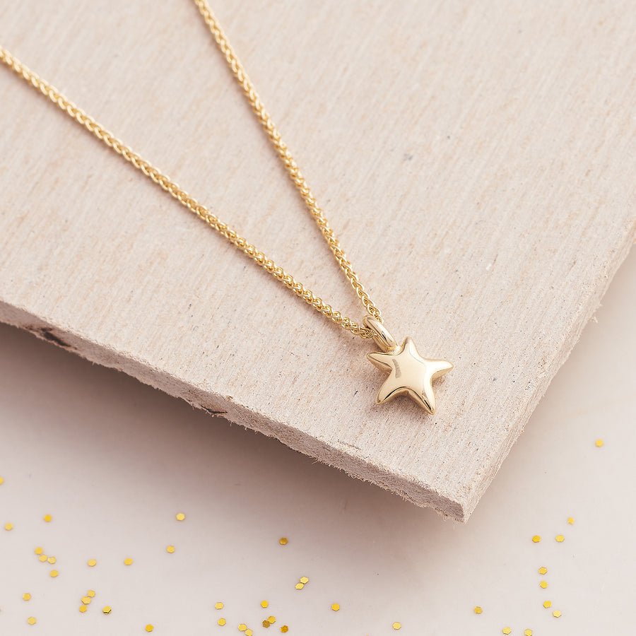 Solid recycled gold star necklace for teens young women designer Scarlett Jewellery