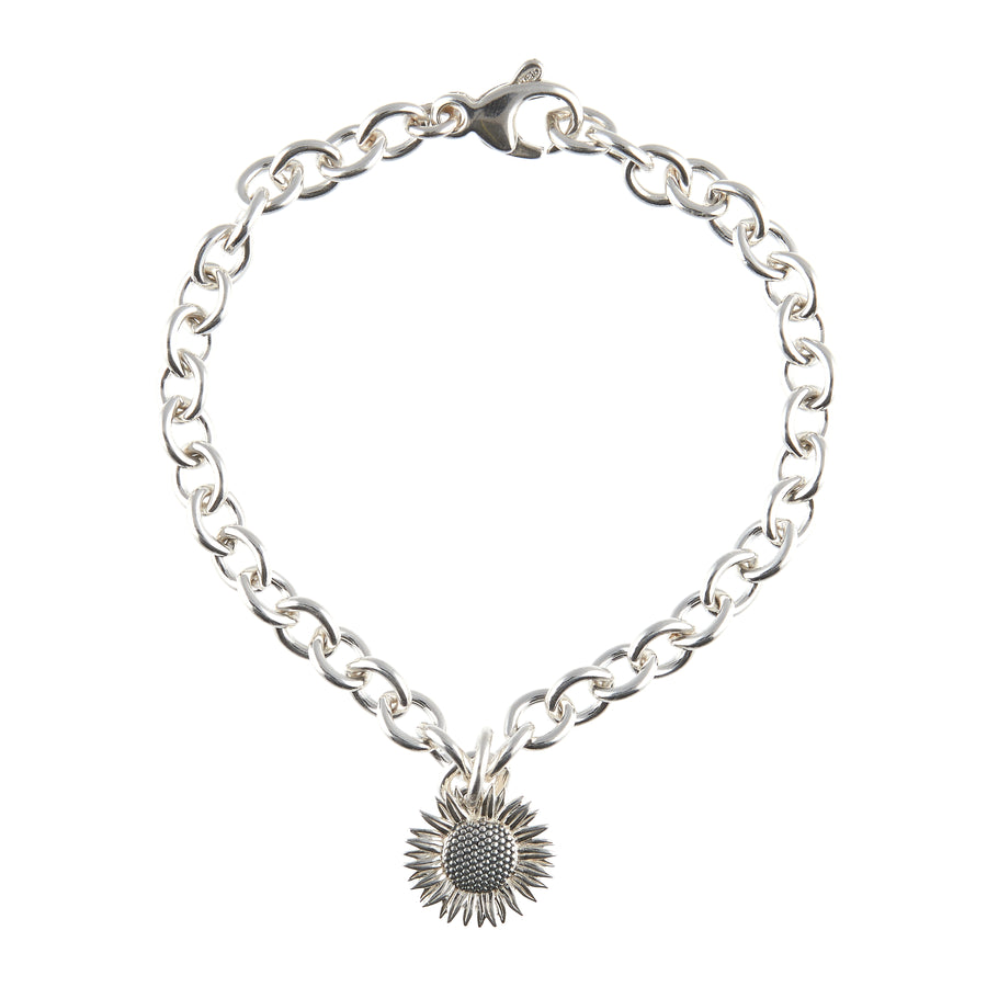 Sunflower Silver Charm Bracelet Solid Sterling adjustable designer bracelet Scarlett Jewellery