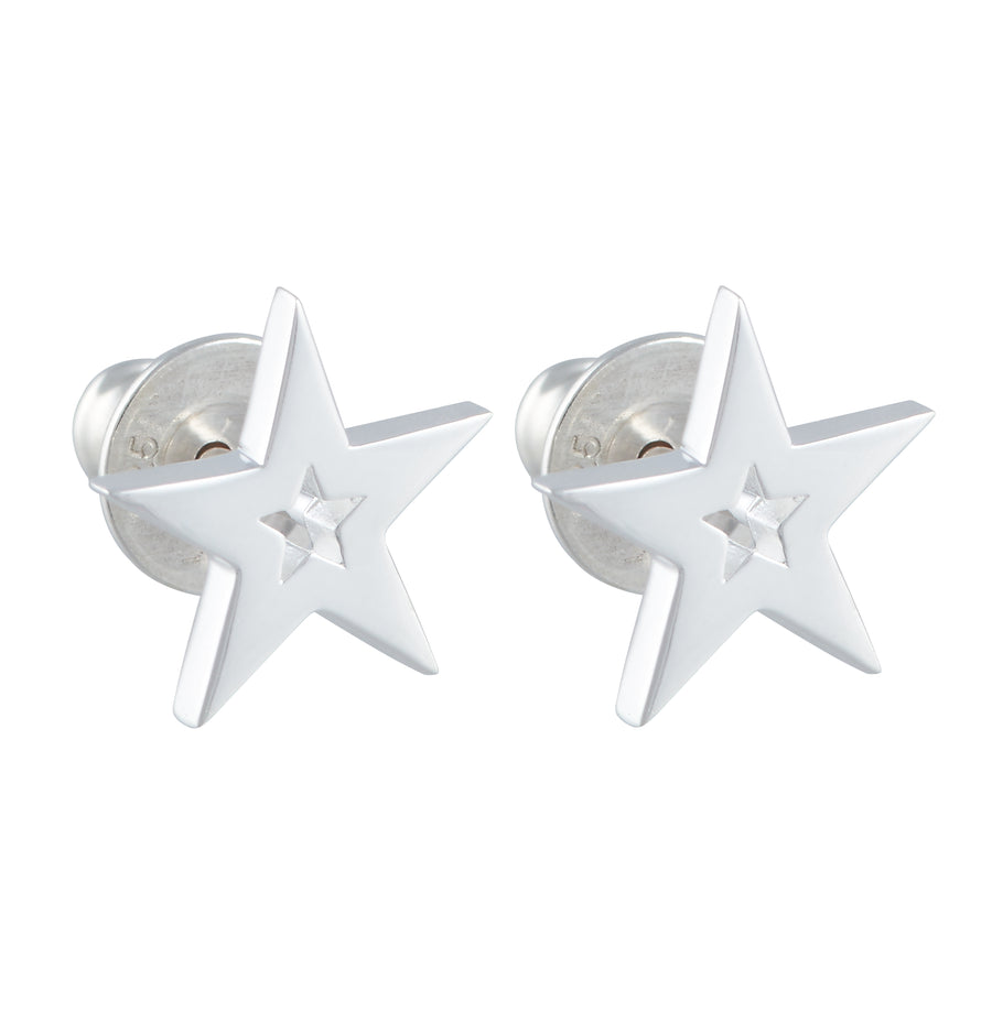 Stardust Outline Silver Stud Earrings Designer Studs Scarlett Jewellery