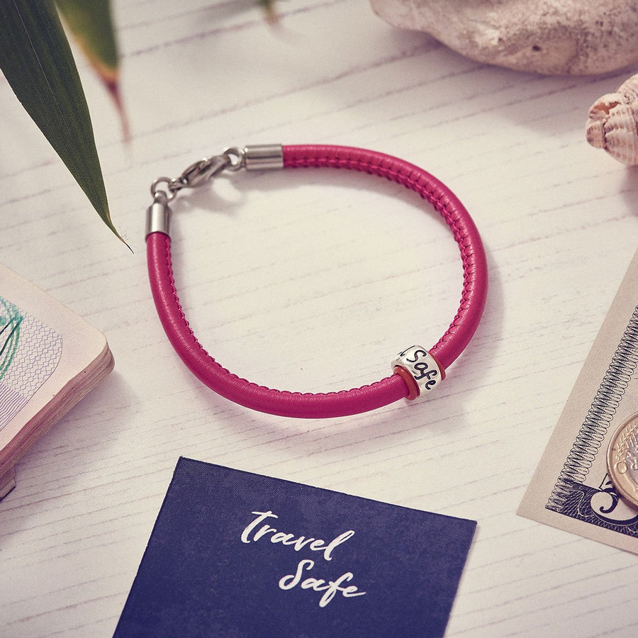 Travel Safe Silver & Italian Stitched Leather Bracelet Pink - alternative travel gift from Off The map Brighton