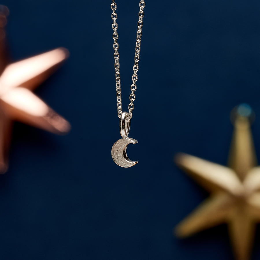 Small silver moon pendant for teens young girls handmade designer Scarlett Jewellery