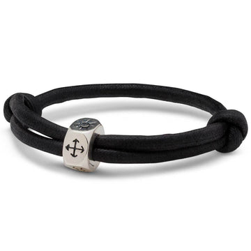 Vegan Traveller Silver Sliding Knot Cotton Bracelet - Engrave with initials or Symbols from Off The Map Brighton