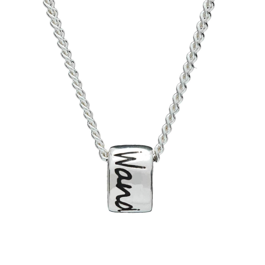 Wanderlust silver necklace for men & women - gap year travel gift alternative to a silver saint Christopher