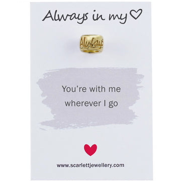always in my heart solid gold bead charm fits pandora engraved scarlett jewellery