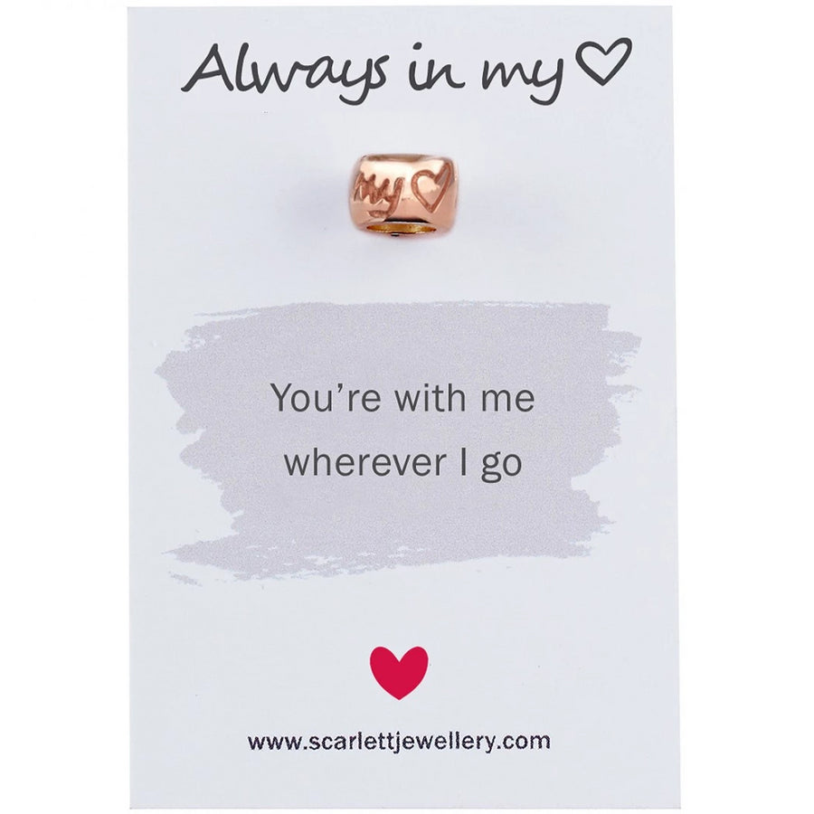 always in my heart rose gold bead charm fits pandora engraved scarlett jewellery