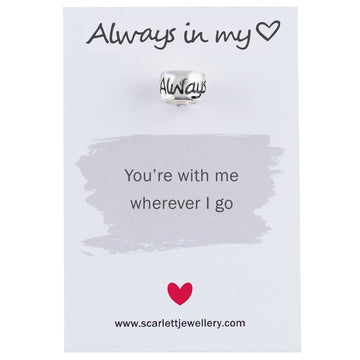 Always In My Heart Romantic Silver Charm Scarlett Jewellery