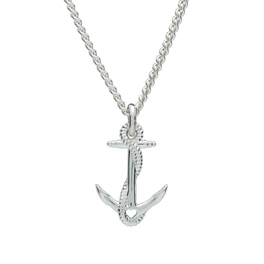 Anchor Solid Silver Womens Necklace Curb Chain