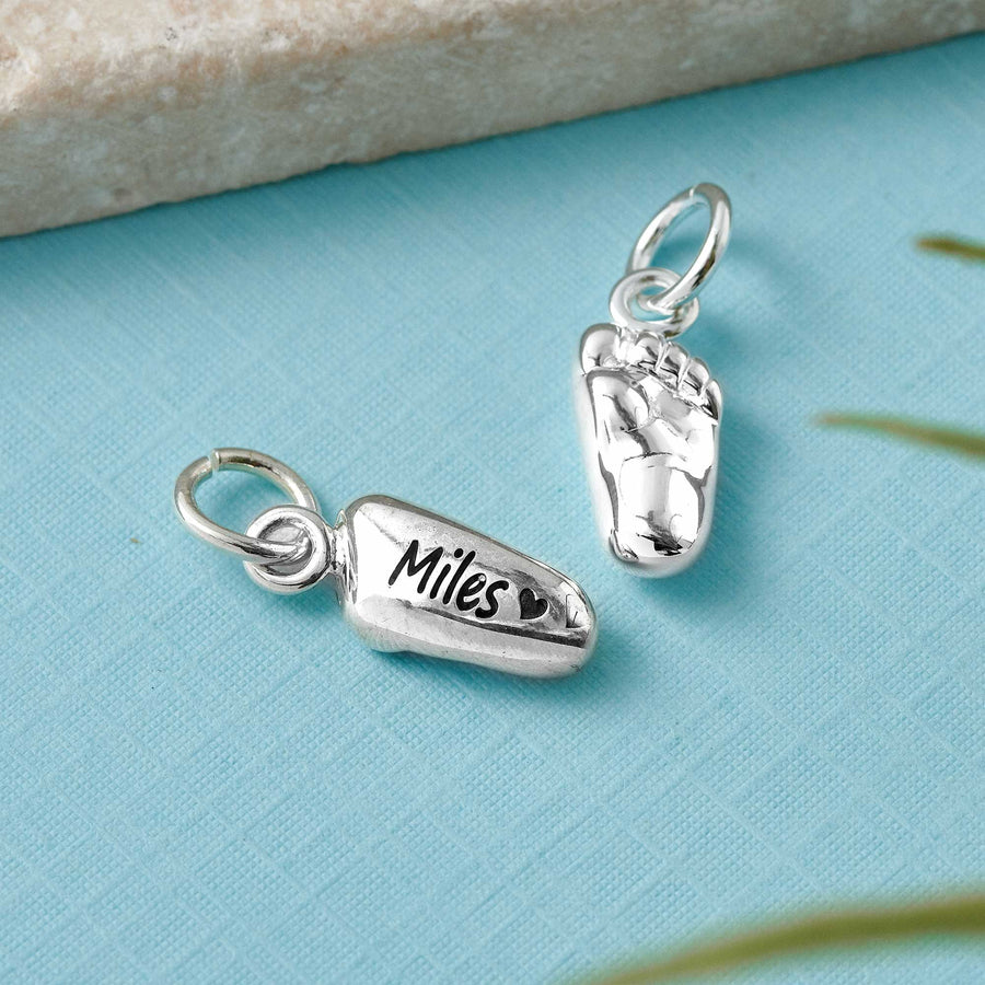 silver new baby charm gift for mum from baby mothers day Christmas