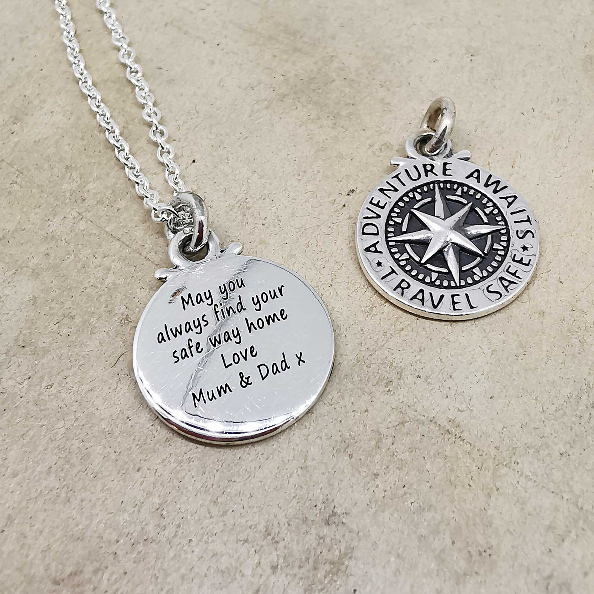 engraved compass silver necklace safe travls mum dad