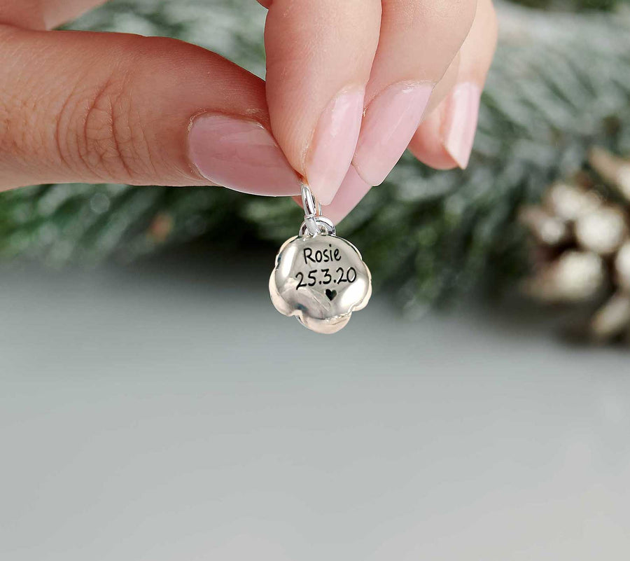 Personalised silver rose flower charm engraved on the back