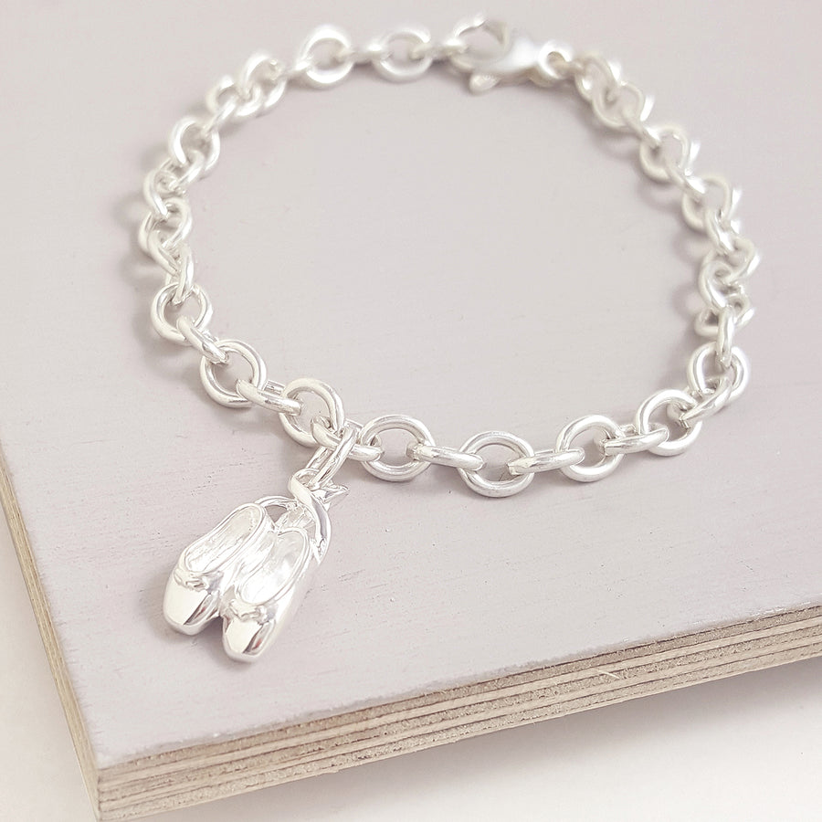 Ballet Shoes Sterling Silver Bracelet Charm