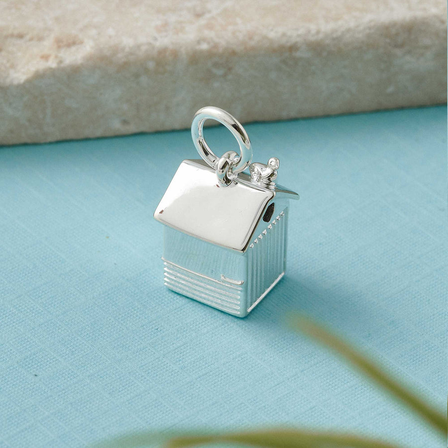 silver brighton hove beach hut charm pendant gift for beach hut owner