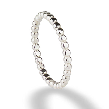beaded ball dots silver stacking ring scarlett jewellery