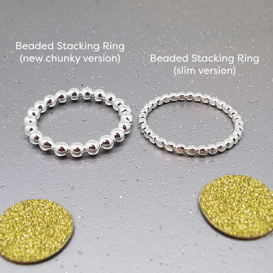 silver beaded stacking rings slim chunky scarlett jewellery