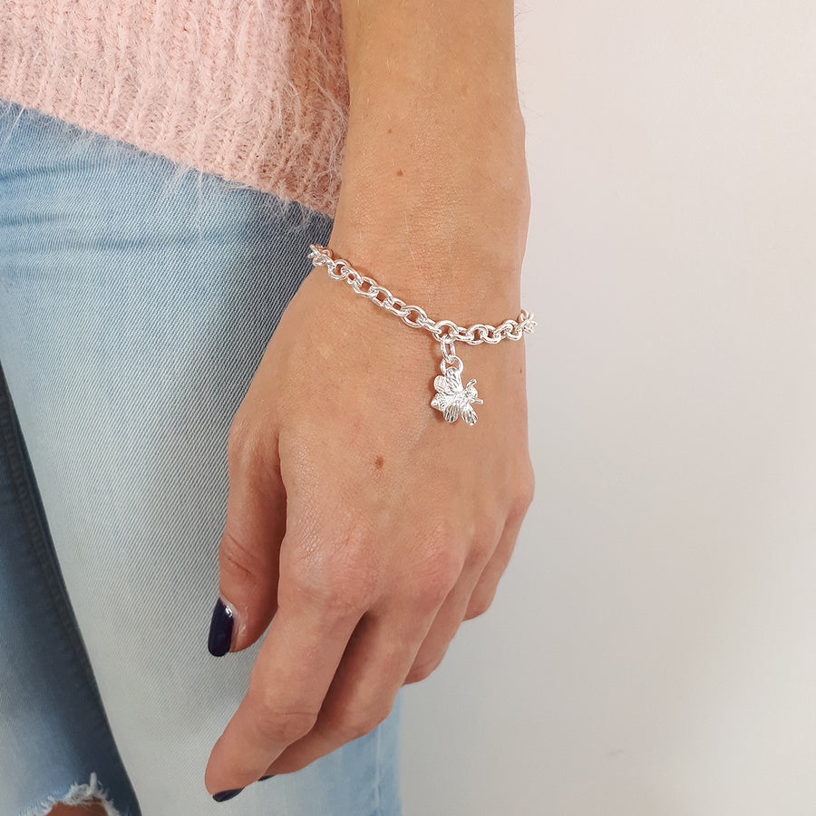 Bumble-Bee Adjustable Solid Silver Charm Bracelet Scarlett Jewellery Nature