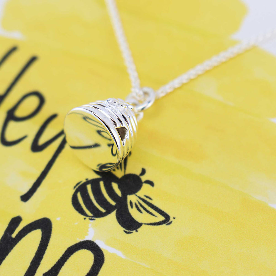 Hey Honey beehive silver necklace gift card Scarlett Jewellery