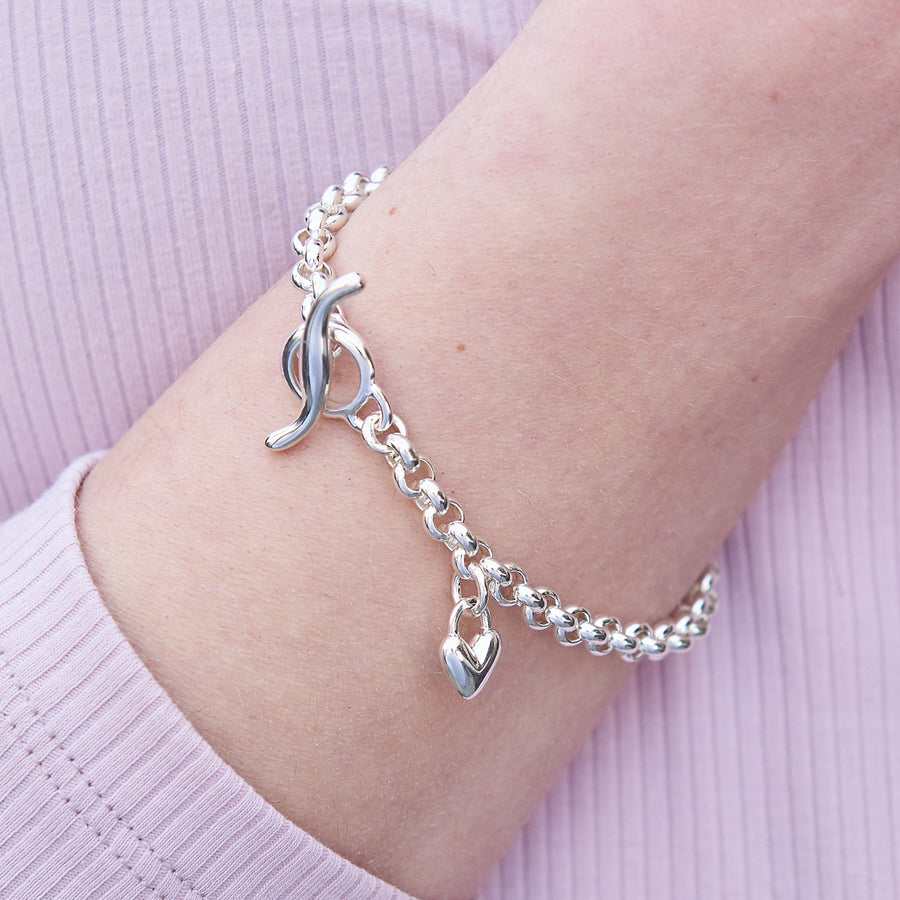 Vintage style belcher chain silver charm bracelet with a heart charm made in UK Scarlett Jewellery
