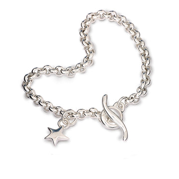 Classic vintage style solid silver charm bracelet belcher chain with star Scarlett Jewellery