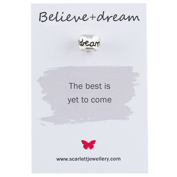 believe and dream silver engraved charm Scarlett Jewellery