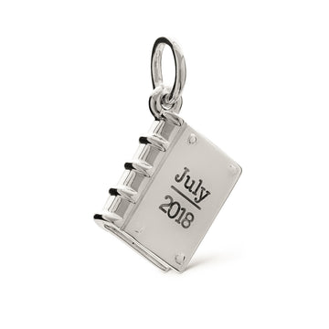 Personalised silver hardback book bracelet charm necklace pendant