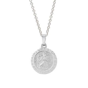 brushed silver small saint christopher necklace with engraving on the back