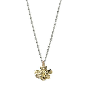 Solid gold and silver bumble bee necklace recycled gold designer Scarlett Jewellery