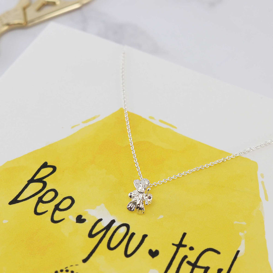 solid silver small bumble nee necklace on gift card Scarlett Jewellery