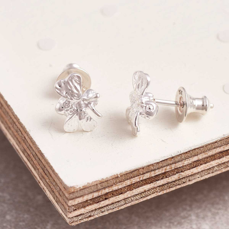 solid silver Bumble Bee stud earrings designer maker Scarlett Jewellery