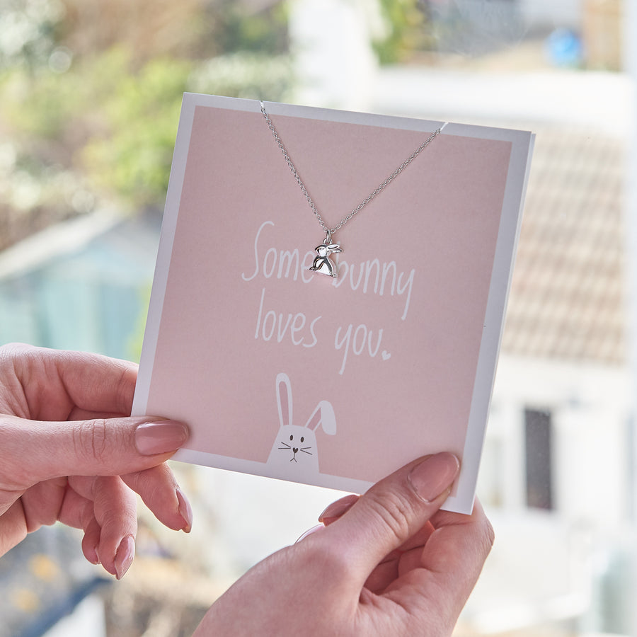 Some Bunny Loves you silver rabbit necklace gift card Scarlett Jewellery