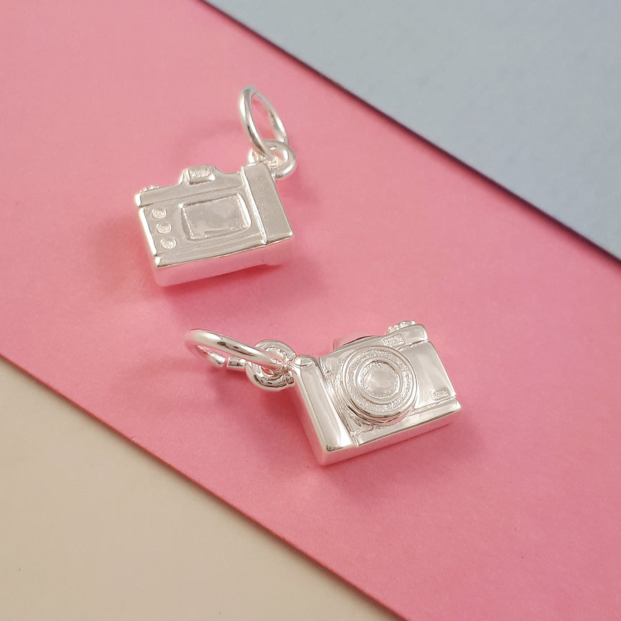 SLR Camera Silver Charm Vintage Style