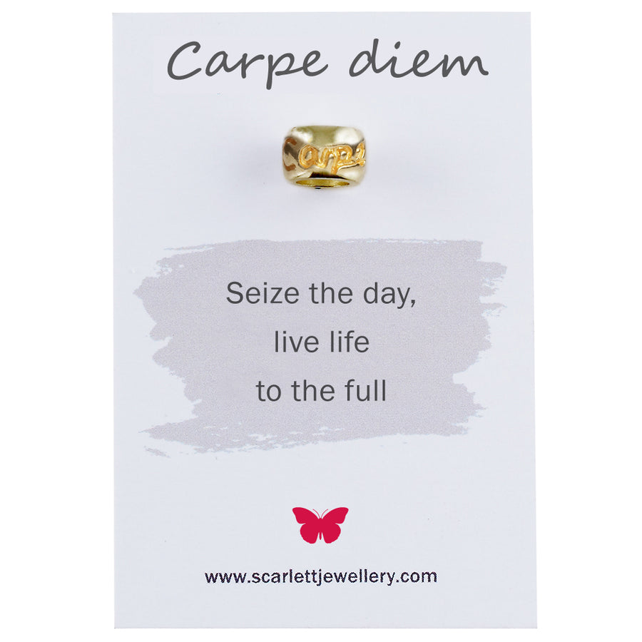 Carpe Diem engraved solid gold charm bead fits pandora