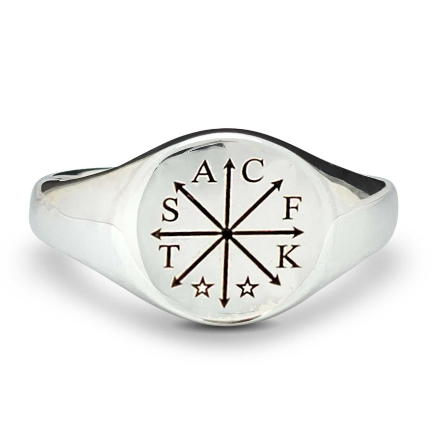 Chaos Family Initials Personalised Silver Signet Ring