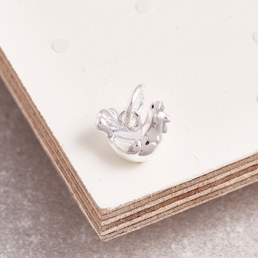 Chicken Silver Bracelet Charm Solid Silver Free UK Delivery