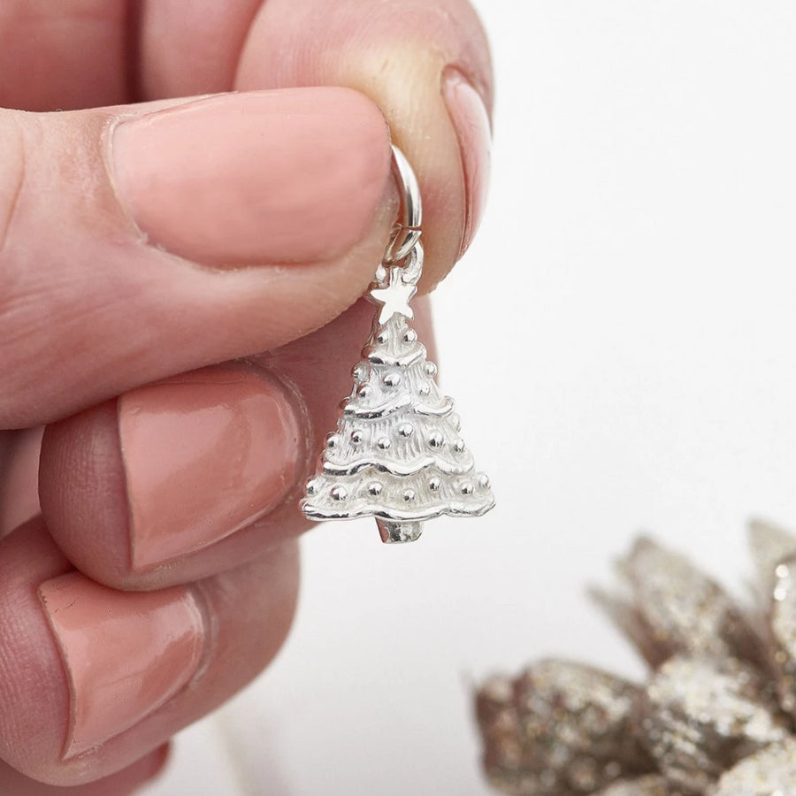 Sterling Silver Christmas Xmas Tree Charm