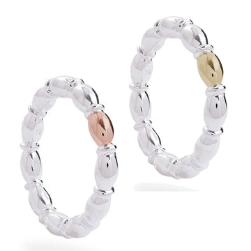 rondelle silver and gold beaded stacking ring scarlett jewellery