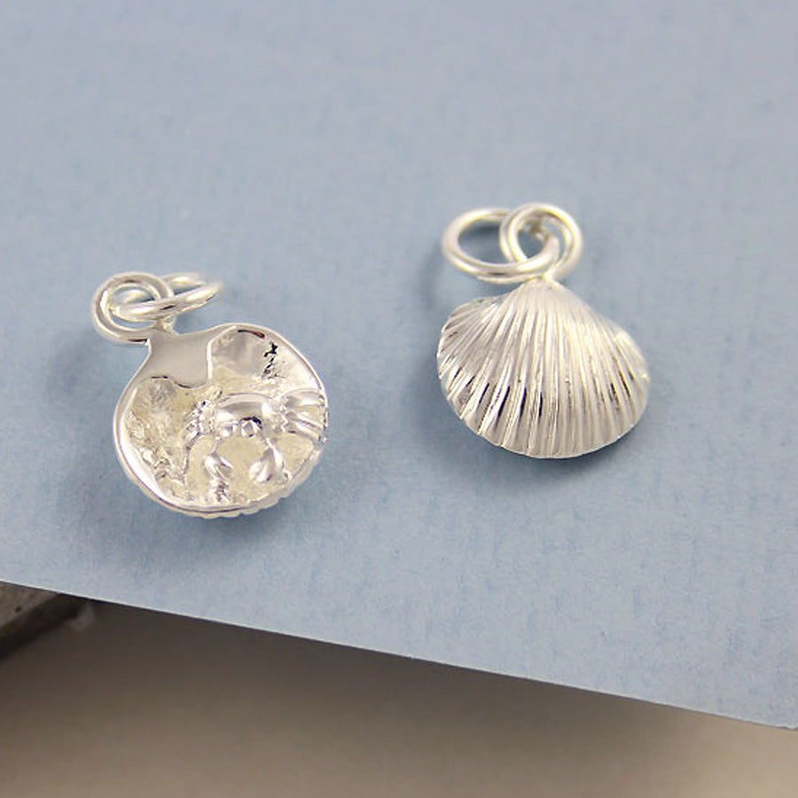 Clam Shell & Crab Silver Charm from Scarlett Jewellery