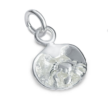 Clam Shell & Crab Silver Charm