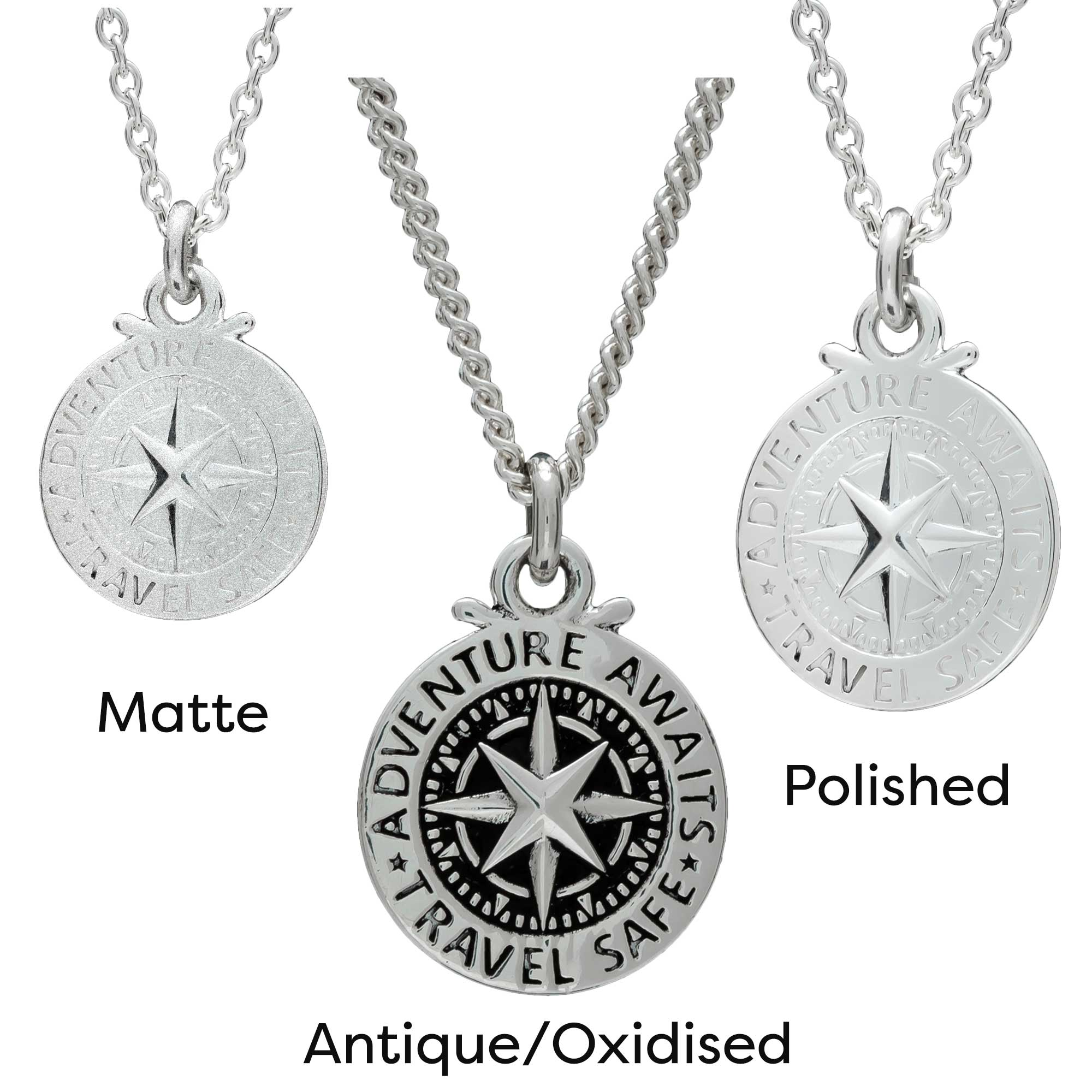 Large Travel Safe Compass Personalised St Christopher Silver Necklace