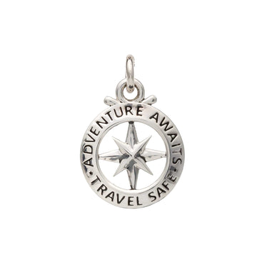 Compass outline travel safe charm off the map jewellery saint christopher alternative