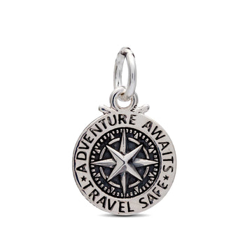 Silver compass st christopher charm for bracelets bangles fit pandora travel gift idea