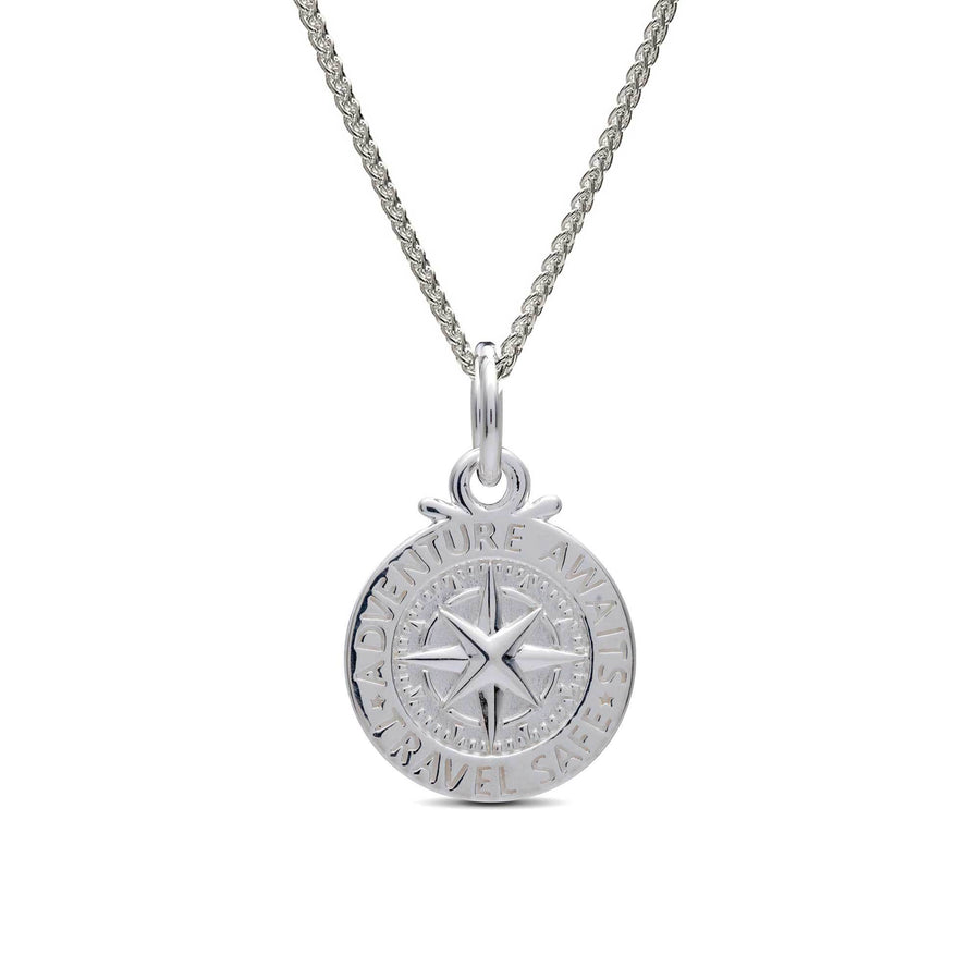 Silver compass saint christopher charm necklace pendant womans travel gift idea