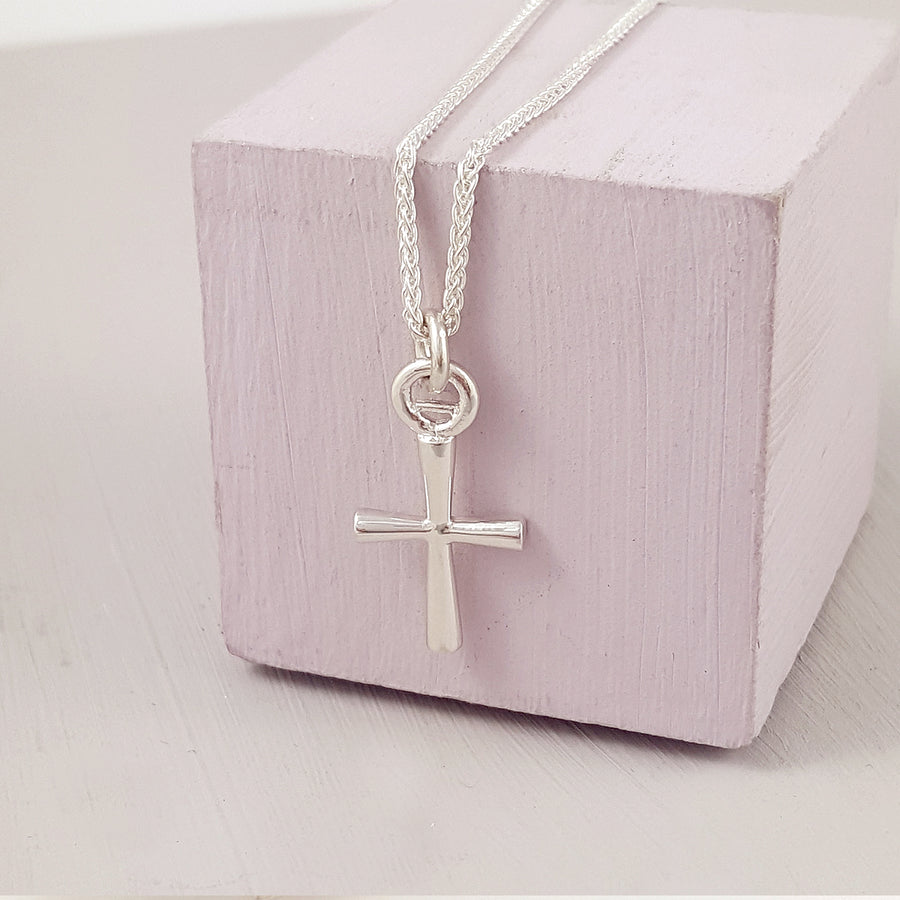 Silver cross charm necklace or bracelet Christening gift from Scarlett Jewellery UK