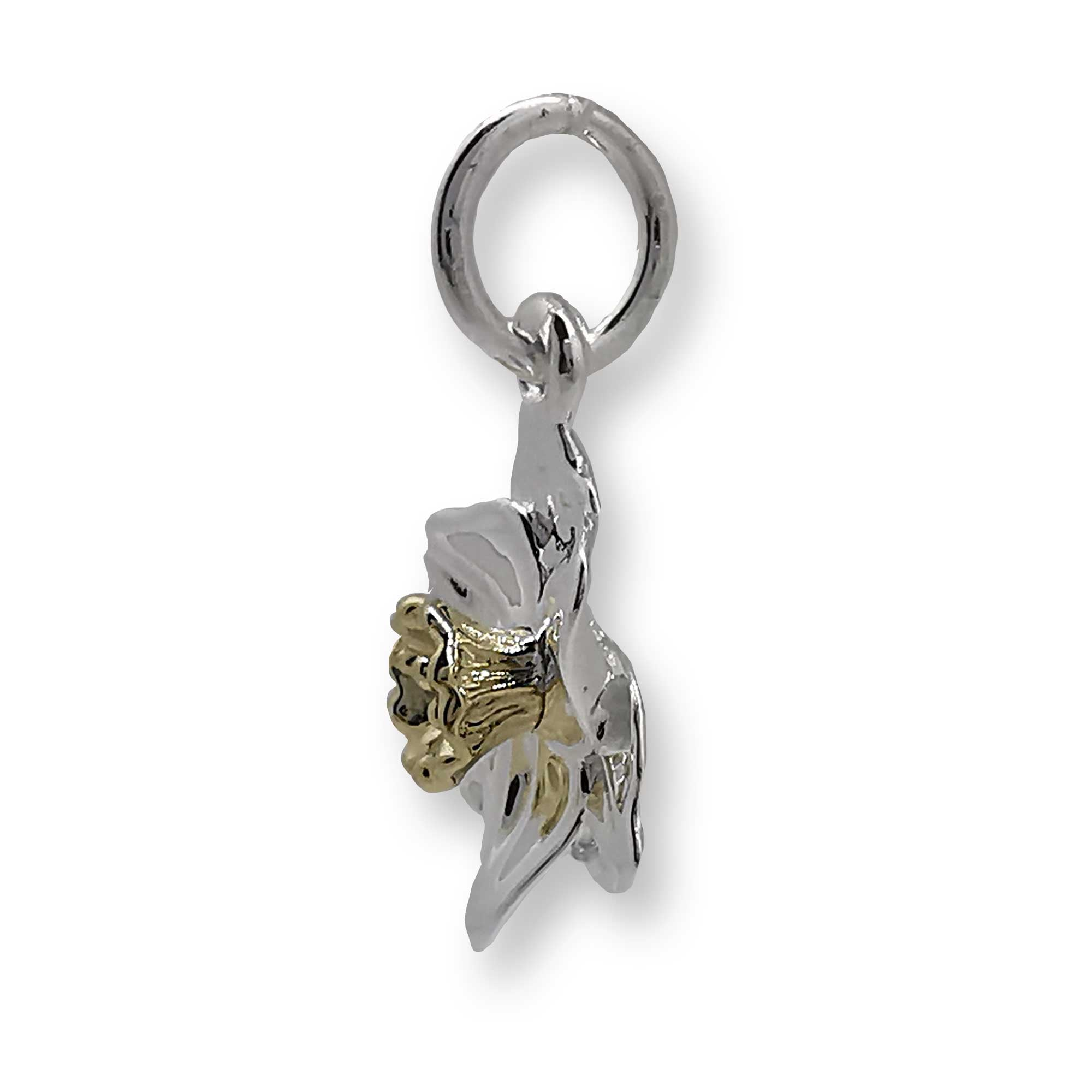 silver and gold daffodil flower charm solid gold middle scarlett jewellery chelsea flower show