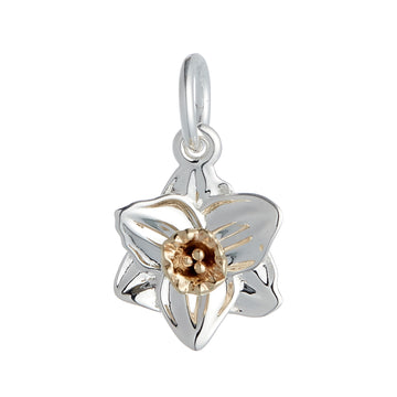 silver solid gold daffodil flower charm wales scotland flowers