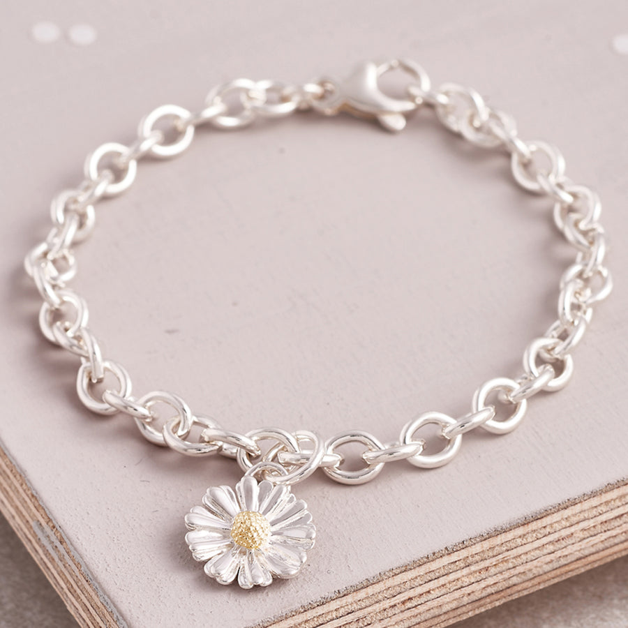 Silver and solid gold daisy charm bracelet flower jewellery UK